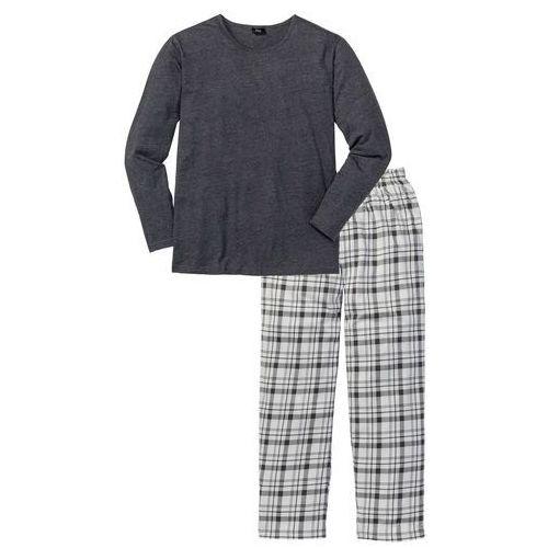 Piżama bonprix antracytowy melanż w kratę, w 4 rozmiarach