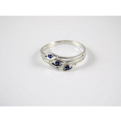 Srebrny pierścionek 925 NIEBIESKIE OCZKA r. 17, kolor niebieski