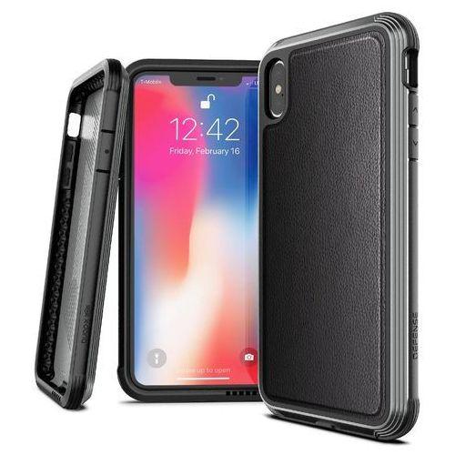 X-Doria Defense Lux Etui Aluminiowe iPhone Xs Max (Black Leather) (Drop Test 3m), kolor czarny