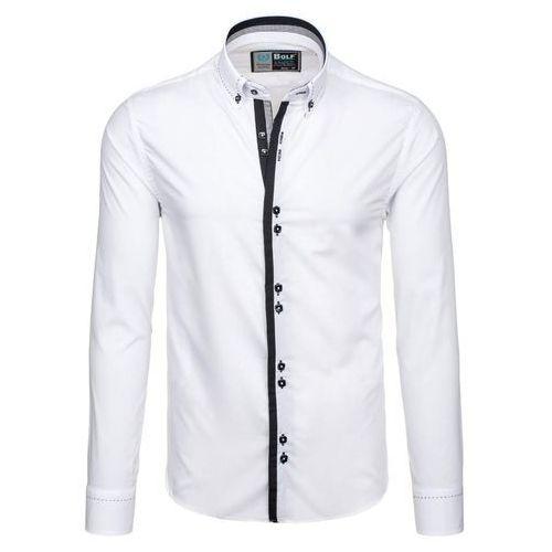 Biała koszula męska elegancka z długim rękawem Bolf 5814 - BIAŁY, BOLF