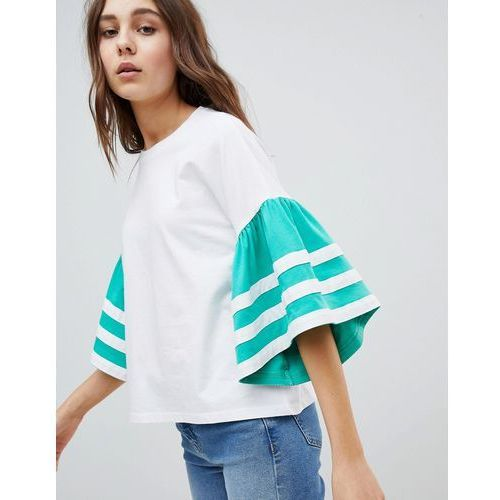 ASOS DESIGN t-shirt in boxy fit with contrast ruffle sleeve - White, kolor biały