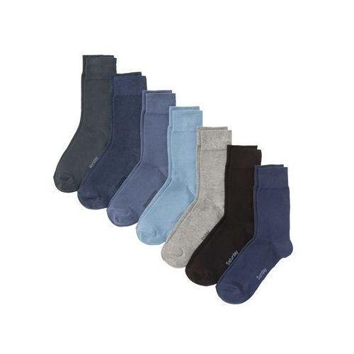 Skarpetki biznesowe z dniami tygodnia (7 par) bonprix odcienie niebieskiego