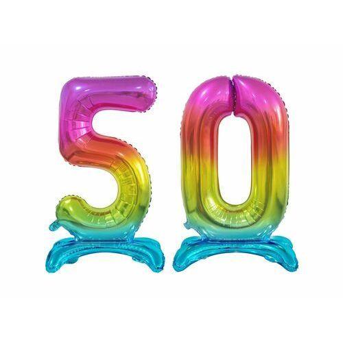 Zestaw balonów foliowych 50 tęczowa - 74 cm marki Godan