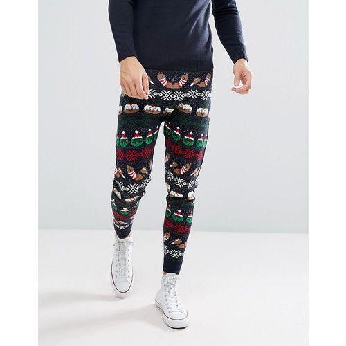 seasons feastings christmas knitted jogger - navy marki Threadbare