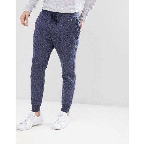 icon logo fleece cuffed jogger in navy printed texture - navy marki Hollister