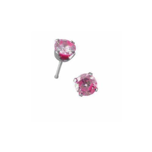Kolczyk Zirconia Neon Hot Pink Para, kolor różowy