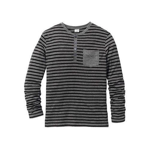 Shirt z długim rękawem regular fit  szary melanż w paski marki Bonprix