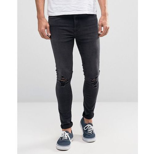 New Look Super Skinny Jeans With Ripped Knees In Blue Black Wash - Black
