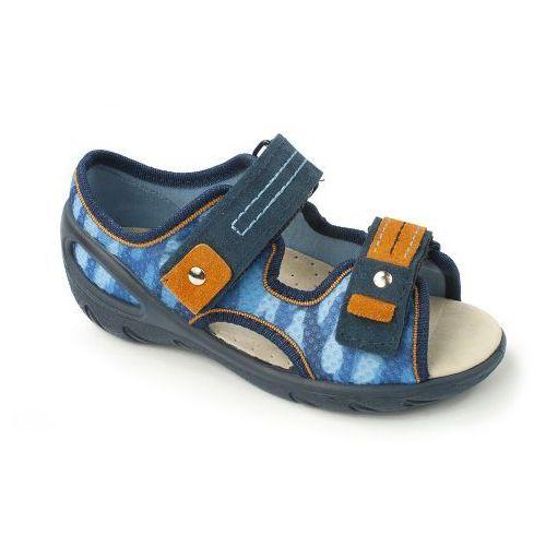 BEFADO Sandałki Dziecięce-Chłopięce - niebieskie, granatowe, przewiewne, na rzepy, kolor niebieski