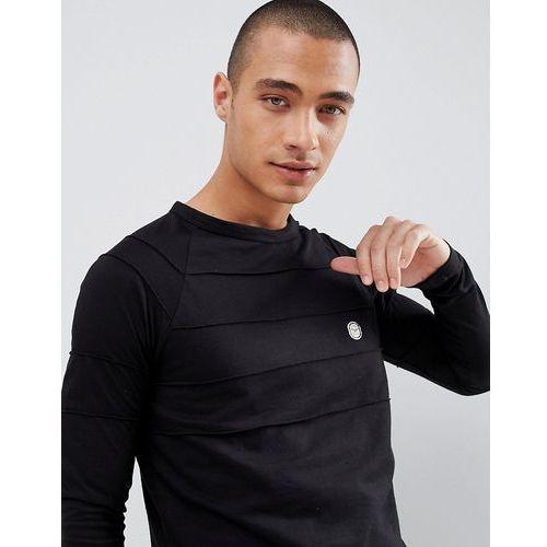 contrast hem long sleeve top - black marki Le breve