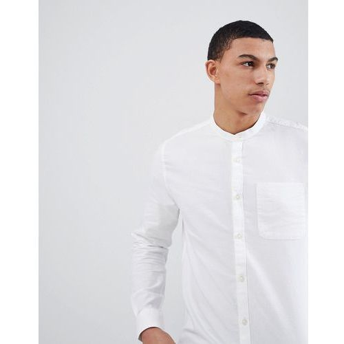 River Island Regular Fit Oxford Shirt With Grandad Collar In White - White, kolor biały