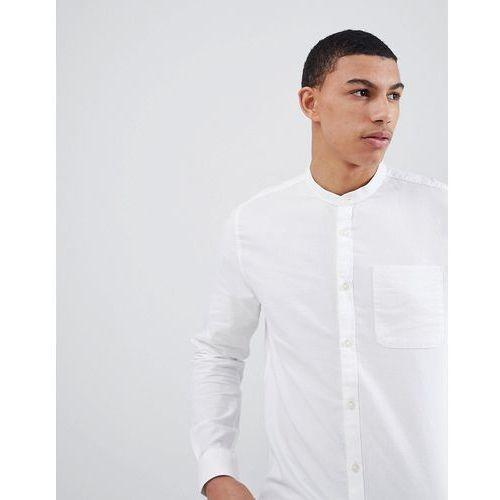 River Island Regular Fit Oxford Shirt With Grandad Collar In White - White, w 3 rozmiarach