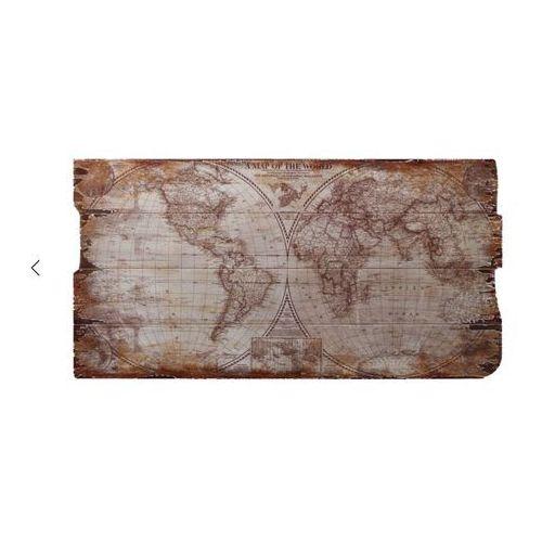 Obraz mapa świata retro na drewnianej desce decoupage marki Nauticdecor