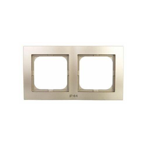 Ramka podwójna Ospel As RH-2G/45 do łączników IP44 satynowa light (5907577475499)