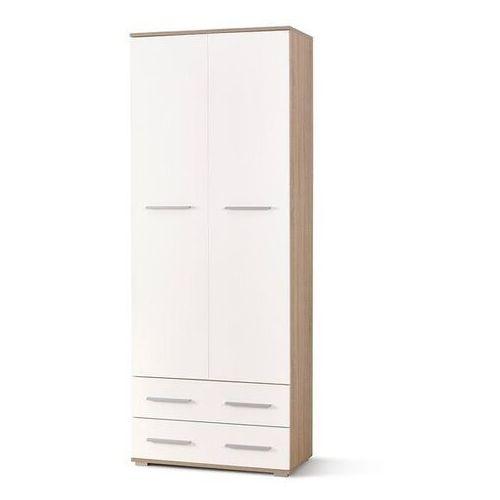 Style furniture Puno regał 2 dąb sonoma/biały wysoki połysk