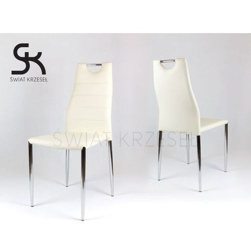 ks005 kremowe krzesło z ekoskóry na stelażu chromowanym - kremowy marki Sk design