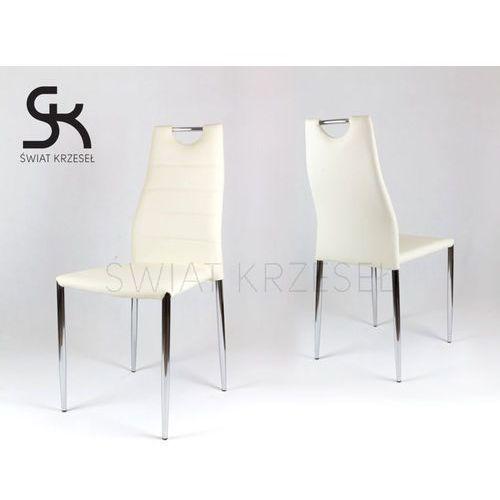 Sk design  ks005 kremowe krzesło z ekoskóry na stelażu chromowanym - kremowy