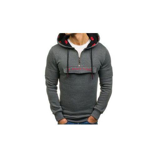Breezy Długa bluza męska z kapturem z nadrukiem grafitowa denley 171588