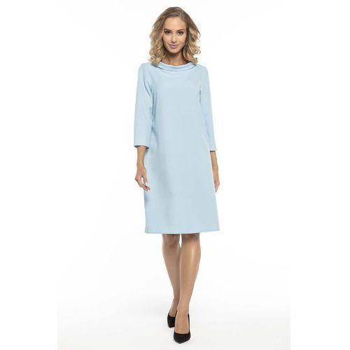 Trapezowa Błękitna Sukienka z Kołnierzykiem JACKIE KENNEDY, kolor niebieski
