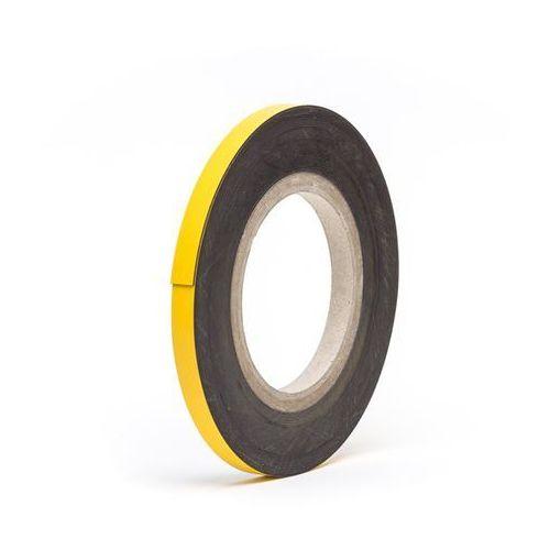 Magnetyczna tablica magazynowa, żółte, rolka, wys. 15 mm, dł. rolki 10 m. Zapewn