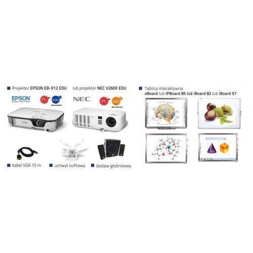 Szkolny zestaw interaktywny 82 dual + projektor epson eb-x12 edu lub nec v260x edu + uchwyt sufitowy + głośniki + kabel vga 15m marki Iboard