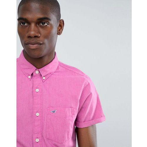 Hollister short sleeve poplin solid shirt slim fit button down seagull logo in pink - Pink, kolor różowy
