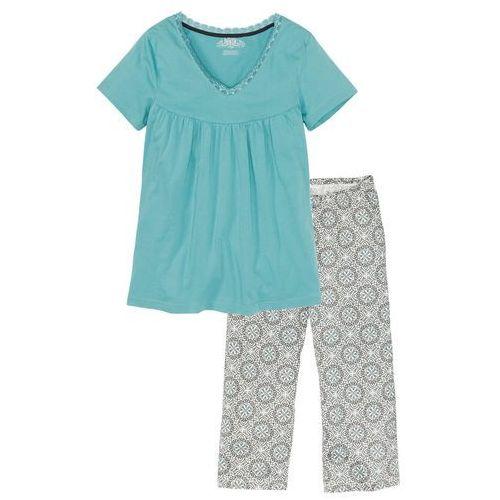 Piżama ze spodniami 3/4 szary z nadrukiem marki Bonprix