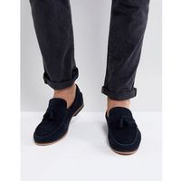 Asos tassel loafers in navy suede with fringe and natural sole - navy
