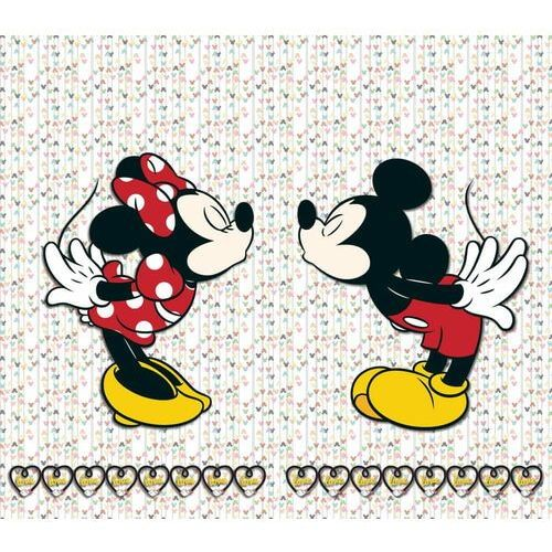 AG design zasłona Myszka Minnie i Myszka Miki z serduszkami, 180 x 160 cm, 2 szt.