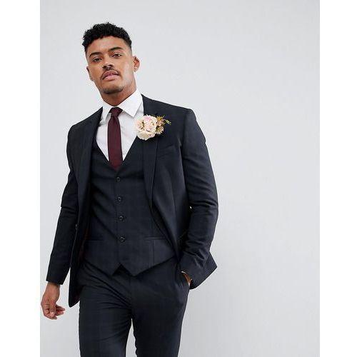 River Island Wedding Skinny Fit Check Suit Jacket In Navy - Navy, kolor szary