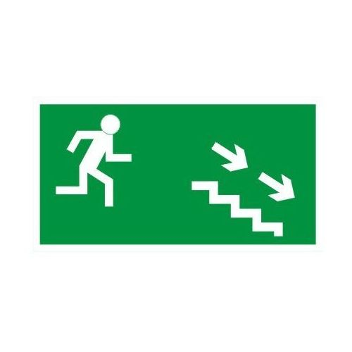 Znak kierunek ewakuacji schodami w prawo w dół marki Techem