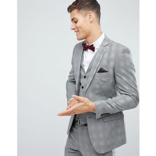 skinny wedding suit jacket in check - grey, French connection