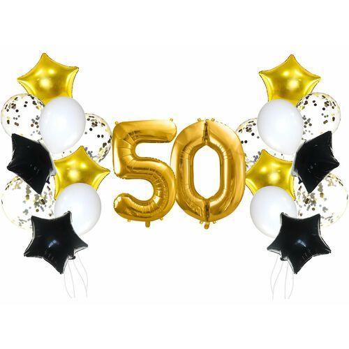 Zestaw balonów na pięćdziesiątkę złoto-czarny - 21 szt.