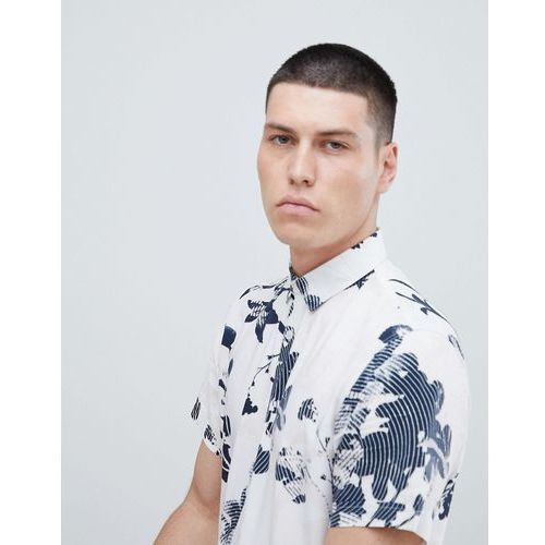 short sleeve viscose shirt with all over print - white, Selected homme, L-XL