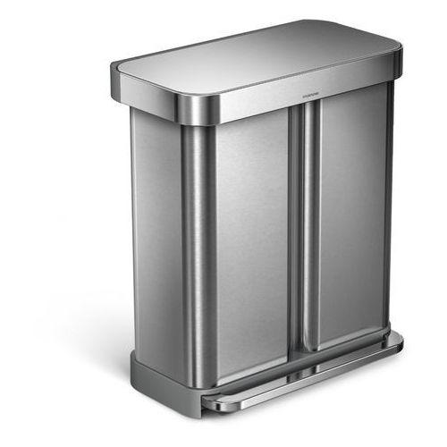 Kosz dwukomorowy Simplehuman Liner Pocket Recycler 58l stal FPP, kolor stalowy