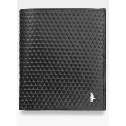 Puccini Portfel męski skórzany  czarny e1698 kolekcja orion 3d wytłoczona tekstura