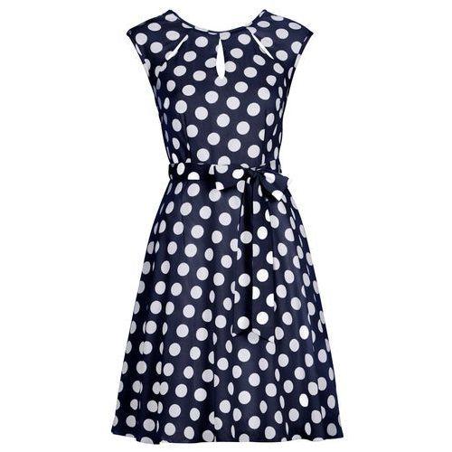131b6ab67e Bonprix Sukienka w groszki ciemnoniebiesko-biały w groszki