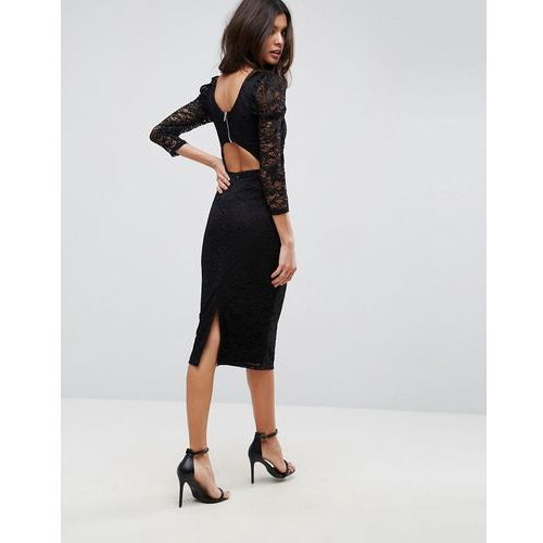 ASOS Lace Midi Dress With Puff Sleeve And Cut Out Back - Black, kolor czarny