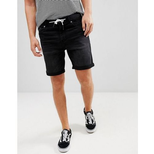 Pull&bear skinny denim shorts in black with drawstring - black