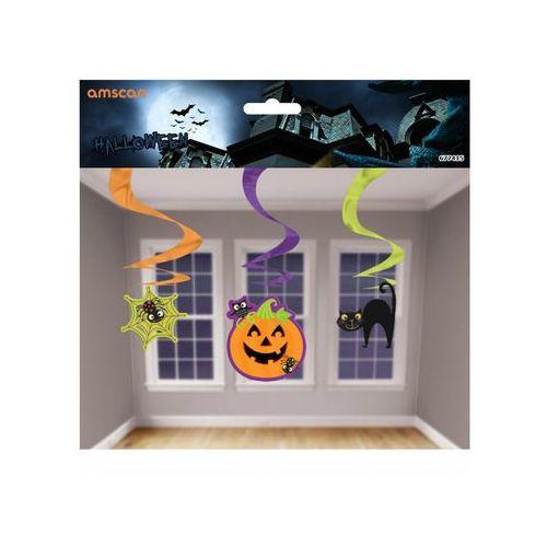 Amscan Dekoracja wisząca świderki z dynią, kotem i pajęczyną na halloween - 3 szt.