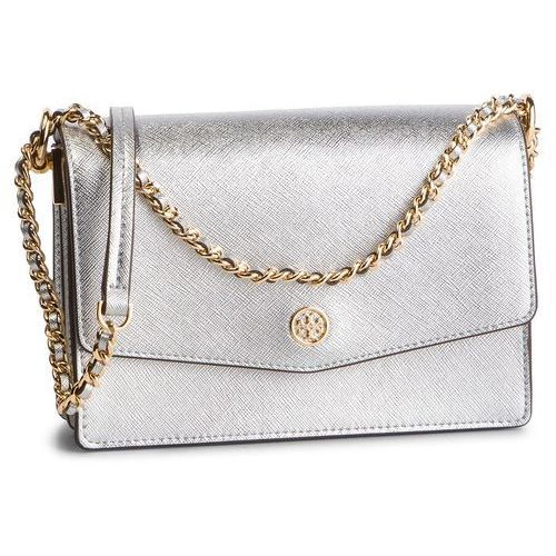 Tory burch Torebka - robinson metallic mini shoulder bag 52748 silver 040