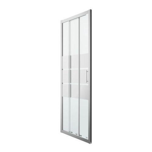 Goodhome Drzwi prysznicowe przesuwne beloya trójdzielne 80 cm chrom/szkło lustrzane (3663602944980)