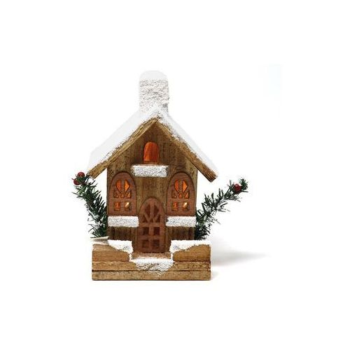 Guirca Lampion drewniany domek - 22 cm - 1 szt.