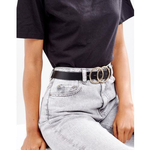 Asos design vegan double circle waist and hip belt in water based pu - black