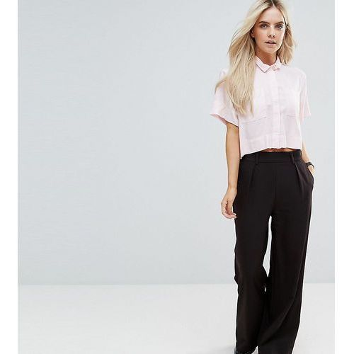 ASOS PETITE The Wide Leg Trouser with Pleat Detail - Black