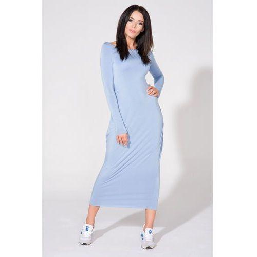Niebieska Sukienka Dzianinowa Maxi Drapowana na Boku, w 5 rozmiarach