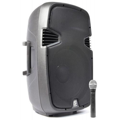 """spj-1500a aktywny głośnik pa 38cm (15"""") 800w vhf aux mikrofon bezprzewodowy marki Skytec"""