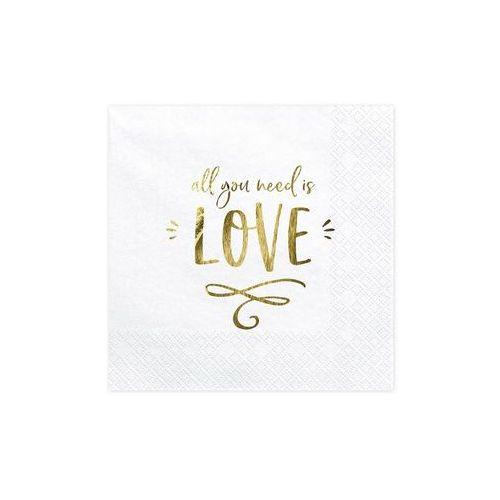 Serwetki weselne białe all you need is love - 33 cm - 20 szt. marki Party deco