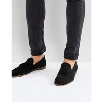 River Island Suede Loafer With Tassel In Black - Black