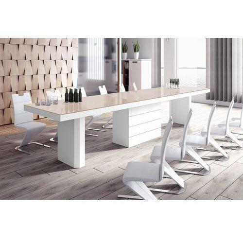 Hubertus design Stół rozkładany kolos 160 cappuccino wysoki połysk